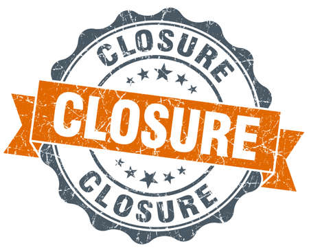 closure: closure orange vintage seal isolated on white