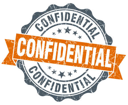 confidential: confidential orange vintage seal isolated on white