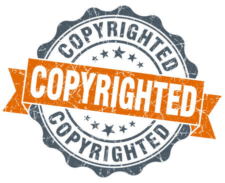 copyrighted: copyrighted orange vintage seal isolated on white