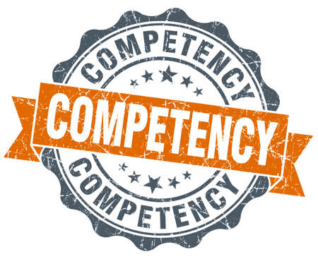competency: competency orange vintage seal isolated on white