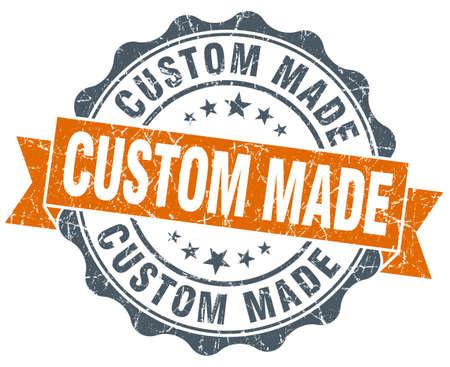 custom made: custom made orange vintage seal isolated on white