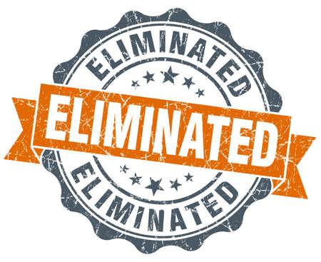 eliminated: eliminated orange vintage seal isolated on white Stock Photo