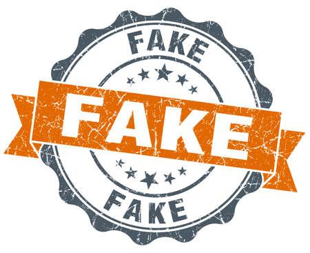 fake: fake orange vintage seal isolated on white