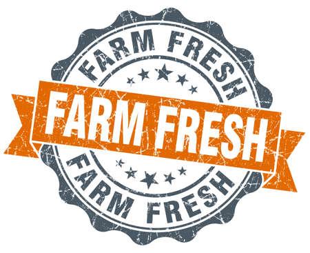 farm fresh: farm fresh orange vintage seal isolated on white Stock Photo