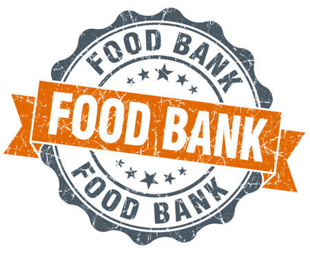36194769 food bank orange vintage seal isolated on white