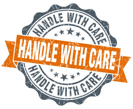 handle with care: handle with care vintage orange seal isolated on white