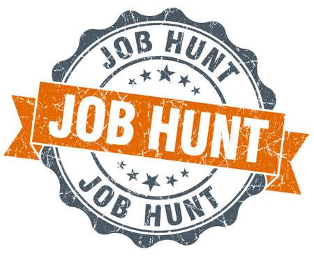 job hunt: job hunt vintage orange seal isolated on white