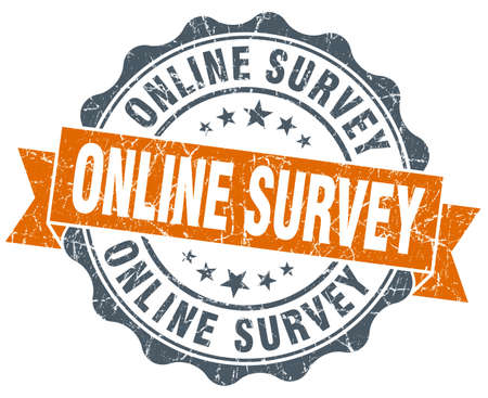 online survey: online survey vintage orange seal isolated on white