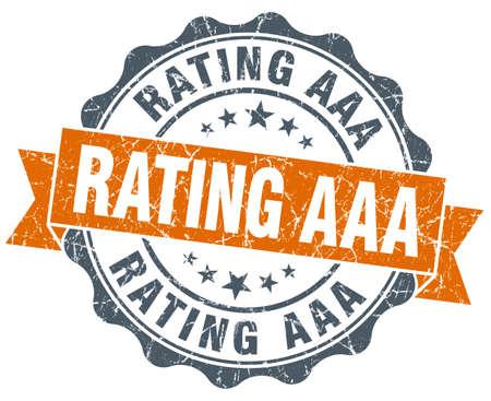 aaa: rating aaa vintage orange seal isolated on white