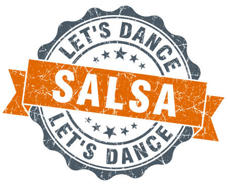 salsa dance: salsa dance vintage orange seal isolated on white