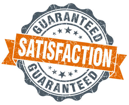 satisfaction guaranteed vintage orange seal isolated on white Stock Photo - 36265516