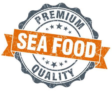 sea food: sea food vintage orange seal isolated on white Stock Photo