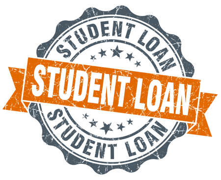 student loan: student loan vintage orange seal isolated on white Stock Photo