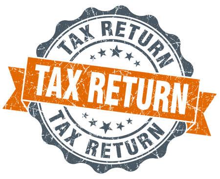 tax return: tax return vintage orange seal isolated on white Stock Photo