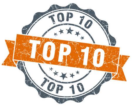 ten best: top 10 vintage orange seal isolated on white