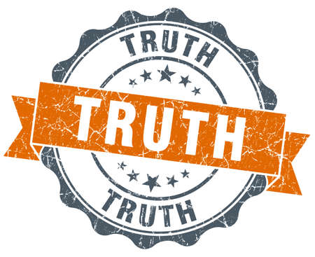 truth: truth vintage orange seal isolated on white