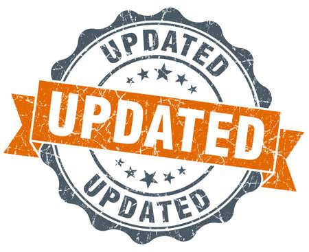 updated: actualizado sello naranja vendimia aislado en blanco Foto de archivo