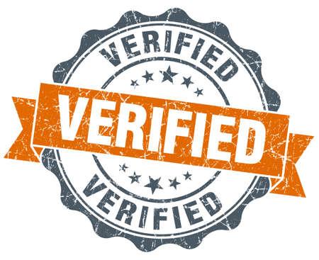 verified: verified vintage orange seal isolated on white Stock Photo