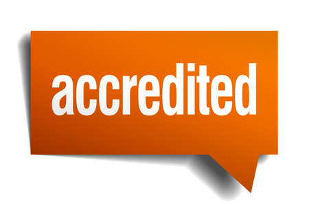 accredited: accredited orange speech bubble isolated on white Illustration