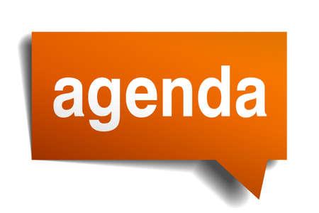 Agenda de la burbuja del discurso de naranja aislado en blanco Foto de archivo - 36408934