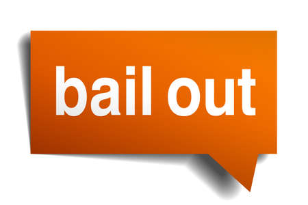 bail: bail out orange speech bubble isolated on white