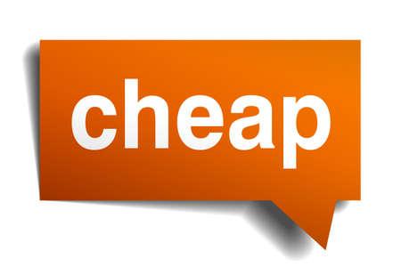 cheap: cheap orange speech bubble isolated on white Illustration