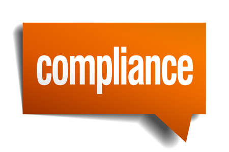 compliance: compliance orange speech bubble isolated on white