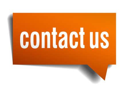 contact us orange speech bubble isolated on white