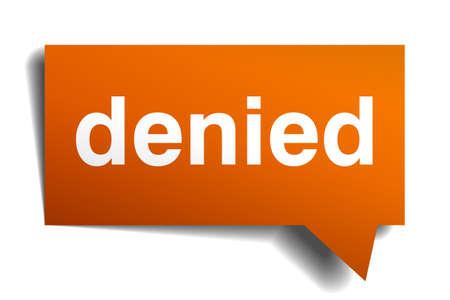 denied: burbuja de di�logo naranja negado aislado en blanco
