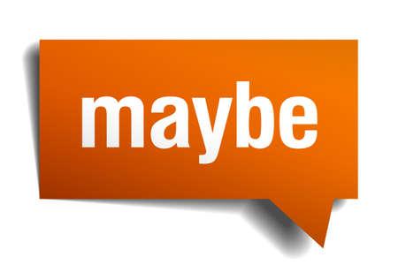 maybe: maybe orange speech bubble isolated on white