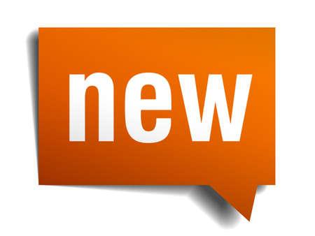 nowy: Nowa bańka mowy pomarańczowy samodzielnie na białym tle Ilustracja