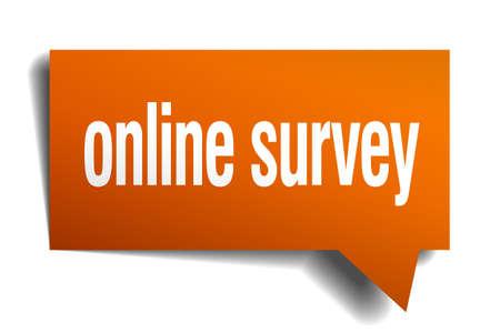 online survey: online survey orange speech bubble isolated on white