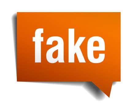 fake: fake orange speech bubble isolated on white Illustration