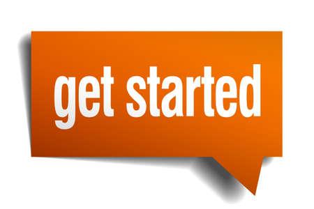 de slag te gaan oranje tekstballon op wit wordt geïsoleerd Stock Illustratie