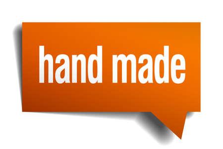 hand made: hecha la burbuja del discurso de naranja mano aislado en blanco
