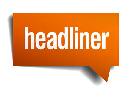 headliner: headliner orange speech bubble isolated on white