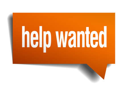 help wanted sign: help wanted orange speech bubble isolated on white Illustration