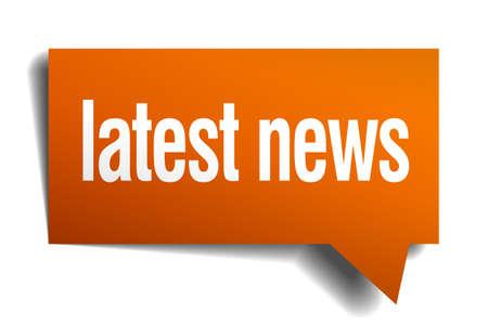 latest news: latest news orange speech bubble isolated on white Illustration