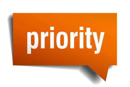 priority: priority orange speech bubble isolated on white
