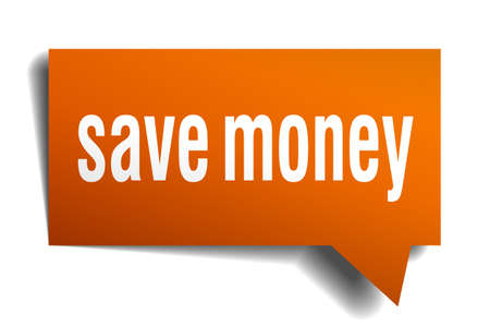 save money: save money orange speech bubble isolated on white