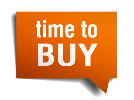 buy time: time to buy orange speech bubble isolated on white Illustration