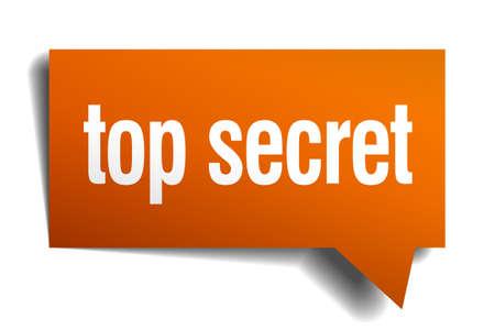 secret: top secret orange speech bubble isolated on white