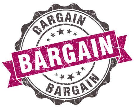 bargain: bargain grunge violet seal isolated on white