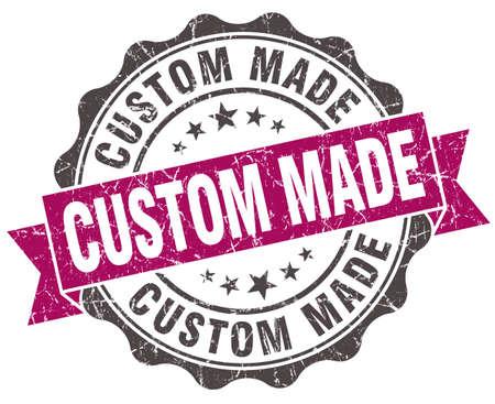 custom made: custom made grunge violet seal isolated on white Stock Photo