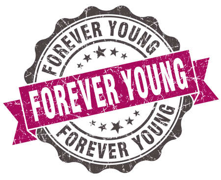 forever: forever young grunge violet seal isolated on white Stock Photo