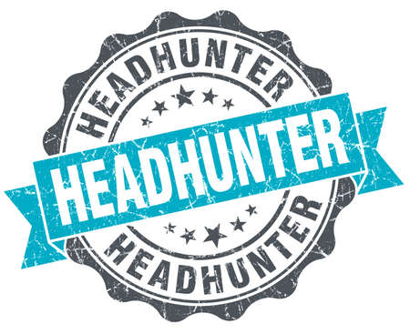 headhunter: headhunter vintage turquoise seal isolated on white
