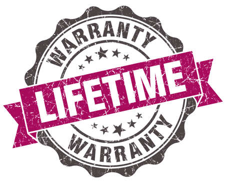 lifetime: lifetime warranty grunge violet seal isolated on white