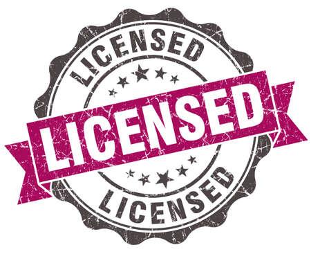 licensed: licensed grunge violet seal isolated on white