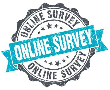 web survey: online survey vintage turquoise seal isolated on white