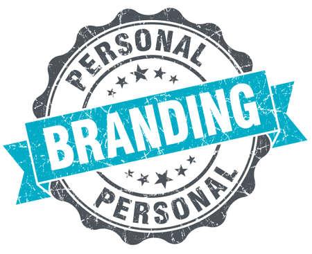 Personal Branding vintage türkis Siegel auf weißem Standard-Bild - 36554463
